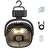 【2019年最新版】多機能扇風機 卓上扇風機 usb扇風機 LEDライト付き キャンファン 静音 吊り下げテント用 風量3段階調節 ファン付き キャンプライト LED ランタン ブラック