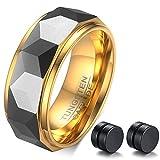 Ablesシックメンズゴールド炭化タングステン結婚指輪ダイヤモンドカット婚約リング8mmイヤリングセット
