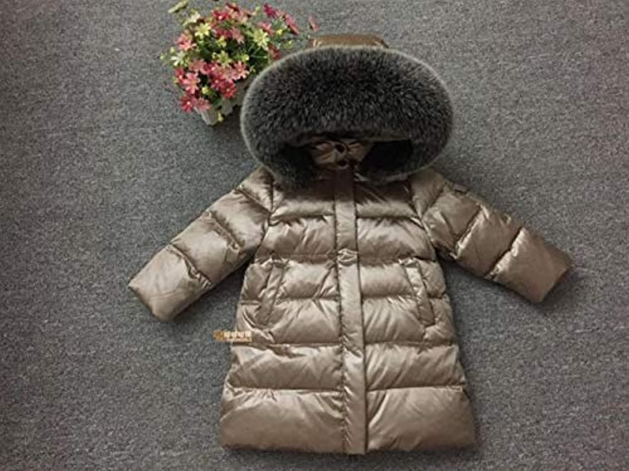 市の中心部皮肉類推新しいです 女の赤ちゃん服、ロングコートの少年雪ダウン90%ホワイトダック0-3ヶ月の女の赤ちゃんの服を着用し、身体ギフト写真の摩耗のための特大の毛皮の襟ダウンコートベビー服?ガール 洋式 (Color : Ivory, Kid Size : 5T)