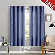 jinchan Velvet Curtains Blue for Bedroom, Thermal Insulated Grommet Window Curtain for Living Room (2 Panels, 63 Inch, Blue)