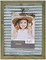 Pinnacle Frames and Accents 7x9 Galvanized Corrugated Metal Clip Tabletop Picture Frame, Silver [並行輸入品]