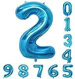 40インチ バルーン (0-9)青の数字ヘリウムの誕生日パーティーの装飾のアラビア数字2