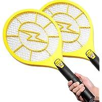 電撃殺虫ラケット[ス蚊ッとラケット] 殺虫剤を使わないから、子供や愛犬にも安心♪食卓でも使えます (2個セット/イエローXL)