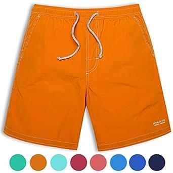 サーフパンツ メンズ 海パン メンズ水着 L(ウエスト80cm~90cm) オレンジ