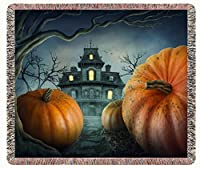 Halloween Haunted House and Pumpkins Woven Throw Blanket 54 x 38