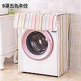 【雨や風から守る!】洗濯機カバー クリアストライプ柄 (ドラム式)