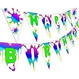 Slime レインボーハッピーバースデーバナーペナント – スライムパーティーデコレーション – レインボーパーティー用品 – スライムパーティー用品 – レインボー