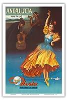 アンダルシア、スペイン - その呪文の下でお楽しみください - スペインのイベリア航空 - ビンテージな航空会社のポスター 1959 - アートポスター - 31cm x 46cm