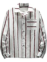 Hanaturu(ハナツル) ストライプ 胸ポケット メンズ カジュアルシャツ 長袖 トップス おしゃれ 春秋夏 ワイシャツ