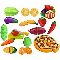 [Gosear] ゴシレ 24ピースおかしいキッズキッチンカットおもちゃセットはピザを含むフルーツ&野菜のナイフカットキッズキッチンバービーコスプレおもちゃキット