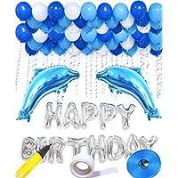 誕生日 飾り付け 豪華 風船 Happy Birthday バースデー 飾りアルミ バルーン お祝い パーティー 装飾セット アルミ風船 バースデー プレゼント 風船、パーティー 風船 風船3色100個 空気入れ 両面テープ付き (イルカセット)