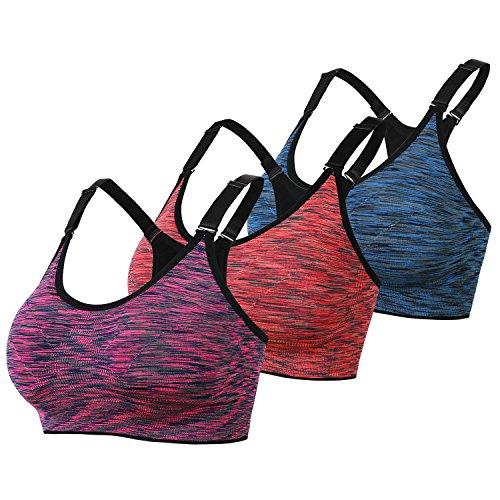 DAS Leben スポーツブラ ジャースポブラ 揺れない 吸汗速乾 ランニング 三枚セット (M, オレンジ、紫赤、ブルー)