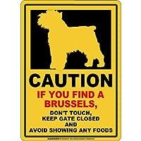 CAUTION IF YOU FIND マグネットサイン:ブリュッセル(スモール)イエロー 注意 DON'T TOUCH 触れない/触らない KEEP GATE CLOSED ドアを閉める 英語 防犯 アメリカンマグネットステッカー
