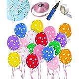しあわせ倉庫 ドット 風船 100個 誕生日 結婚式 パーティー バルーン 飾り付け 飾り 装飾 空気入れ セット (12色 ドット)