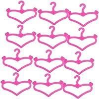 【ノーブランド品】ドール用 人形用 12個セット ハンガー ピンク バービーアクセサリー