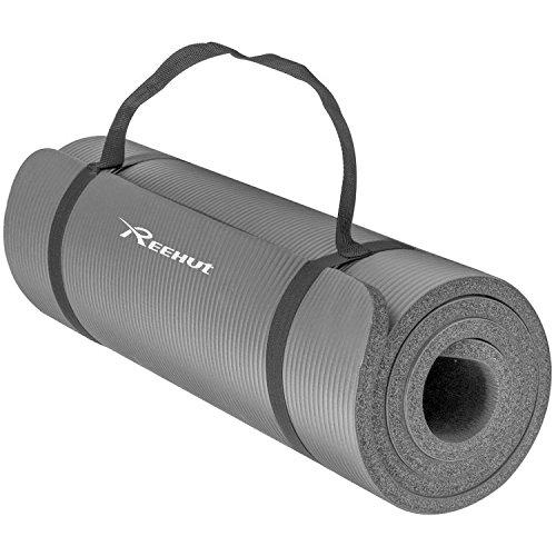 Reehut 10mm の超厚くて高密度のNBRヨガマットはPilates、フィットネス鍛錬に用いられます/サスペンダーがあります (灰色)