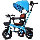 キッズトライク、三輪車トライクペダル3ホイールベビー幼児用プッシュハンドル取り外し可能なキャノピーリバーシブルシート