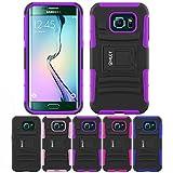 Galaxy s6Edgeスタンドケース、hlct堅牢な耐衝撃デュアルレイヤーPCソフトシリコンケース内蔵キックスタンド付きfor Samsung Galaxy s6Edge ( 2015) Samsung Galaxy S6 Edge