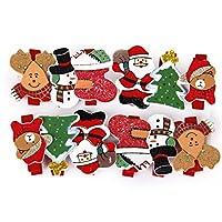 かわいいミニ木製クリスマスパターンペグメモメモクリップかわいいクリスマスデコレーション(12パック)