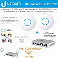 UniFi nanoHD UAP-nanoHD-US プリ設定 (2個パック) コンパクトデュアルバンド Wave2 エンタープライズ Wi-Fi 4x4 MIMO 1730 Mbps UniFiスイッチ付き 8 US-8-60W 8ポート 完全に管理されたギガビット(すぐにインストール可能)
