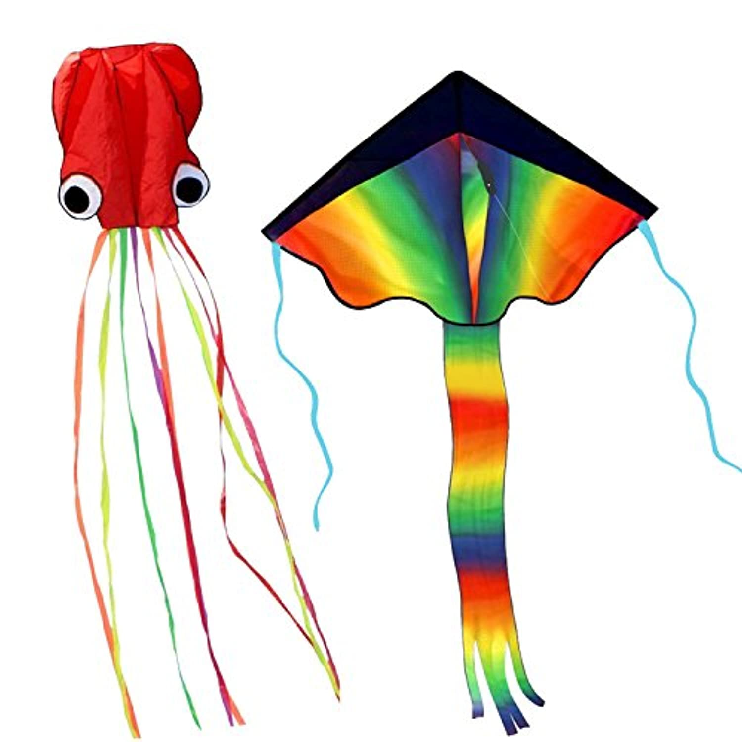 2 PACK Huge Rainbow Kite + Red Mollusc Octopus Kite For Kids - Beautiful Large Easy Flyer Kite for Kids with 157inch Long Tail and 200cm Line - Perfect for Beach or Park by R o HORSE