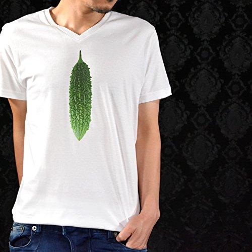 (ブラックバリア) BLACK VARIA プリントTシャツ Vネック ゴーヤ 夏 果物 野菜 フルーツ 南国 半袖 Tシャツ ホワイト prt002 M