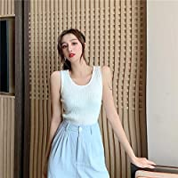 HJJUANAU Knit Vest With Cross Strap Sleeveless T-shirt (Color : White, Size : Free Size)