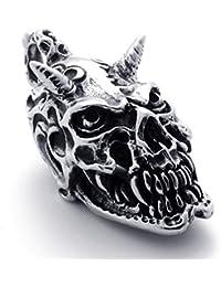 [テメゴ ジュエリー]TEMEGO Jewelry メンズステンレススチールヴィンテージペンダントゴシックスカルホーンネックレス、ブラックシルバー[インポート]