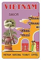 22cm x 30cmヴィンテージハワイアンティンサイン - ベトナム - サイゴン(ホーチミンシティ) - ベトナムナショナルツーリストオフィス - ビンテージな世界旅行のポスター c.1950s