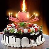 誕生日キャンドル,ケーキトッパー誕生日ロータスブロッサムミュージカル回転キャンドル(4 色)