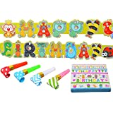 aldorado誕生日パーティーセット# 8 :ペーパーナプキン誕生日装飾バナーKids Blowers Assorted 10個