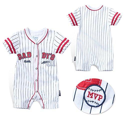 4bb2f0a46c135 エルフ ベビー(Fairy Baby) ロンパース 半袖 ショートオール 前開き ベビー服 男の子 野球ユニフォーム 縞柄 size 24M  (5028) Fairy Babyの前開きロンパースです。