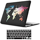 """iLeadon MacBook Pro 13 Inch Case with Retina Display 2012-2015 Release Model A1425/A1502 Rubberized Hard Shell Cover+Keyboard Cover for MacBook Pro 13"""" Retina Non CD ROM, Black Map"""