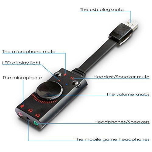 AFUNTA サウンドカード 外付けサウンドカード USBオーディオインターフェース 7.1チャンネル 挿して使える 音楽 映画 ゲーム ネット放送 音質アップ 小型