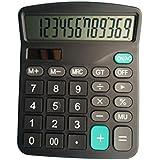 太陽エネルギー電卓 小型家庭電器 実務電卓 太陽エネルギー電卓 12桁電卓 スタンダード電卓 電子使用でき 時間・税計算 オフィス用品 ブラック