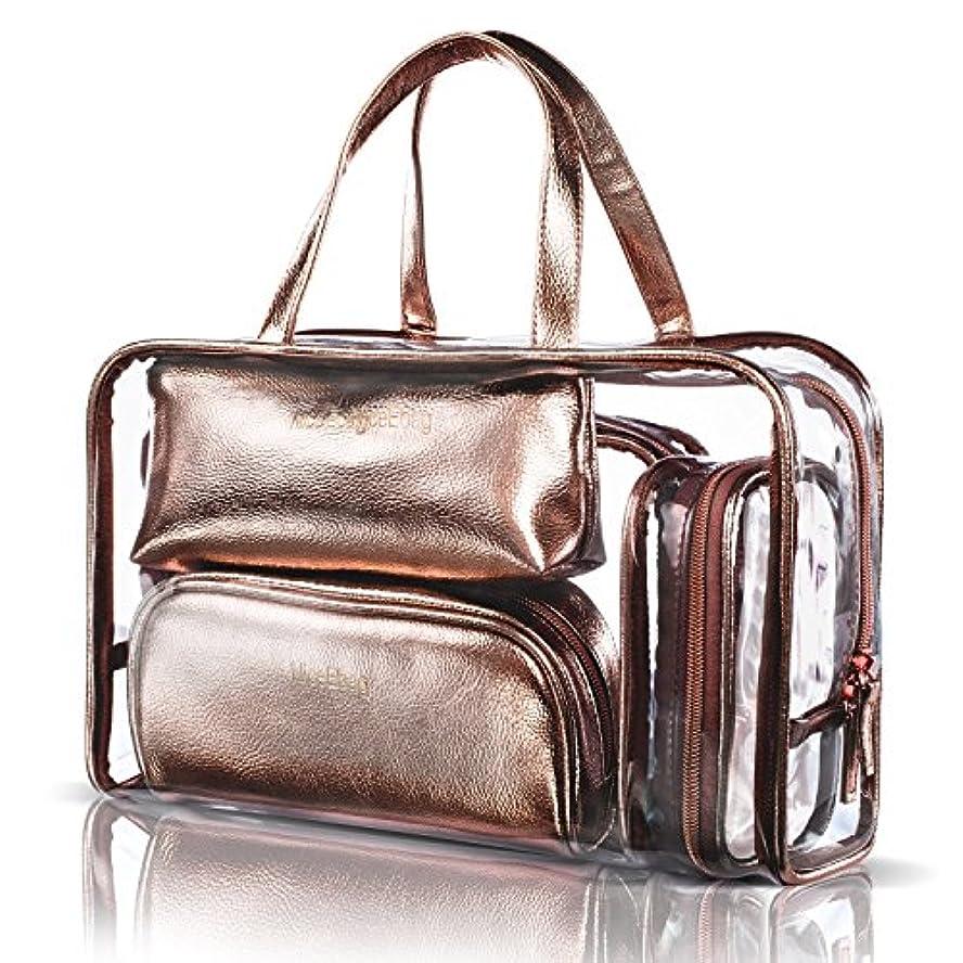 追加するラボ関税NiceEbag 透明バック、ビニールバッグ、化粧品バッグ、化粧ポーチ、メイクポーチ、クリアバッグ、プールバック、ハンドバッグ、トートバッグ、スタイリッシュ、オシャレ、かわいい、温泉、海、旅行 ビーチ ビジネス スパンコール 防水性 5個セットバック ローズゴールド