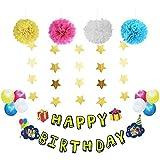 SUNBEAUTY 誕生日飾り付け 写真貼れる ペーパーフラワー バルーン スター 誕生日ガーランド バースデー デコレーション 14点セット