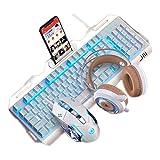 グレア有線キーボードとマウスヘッドセットセットメカニカルメタルサイレントバックライトオフィスホームエスポートゲーム (色 : White ice blue three-piece Set)