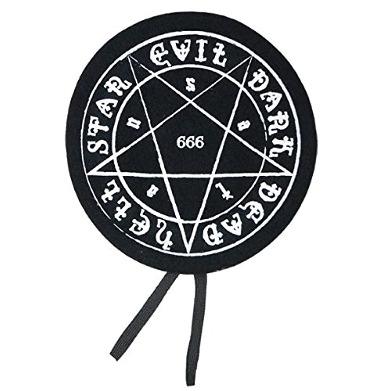HELLCATPUNKS(ヘルキャットパンクス) 魔法陣プリントベレー帽 HCP-C425-20-I F BLACK