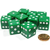 [Koplowゲーム]Koplow Games Set of 10 Large Six Sided Square Opaque 19mm D6 Dice Green with White Pip Die 2087 [並行輸入品]