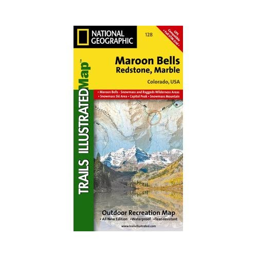 マルーン・ベルズ・レッドストーン、大理石のナショナルジオグラフィックTI00000128地図 - コロラド州