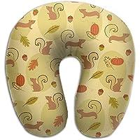 U字型枕 ネックピロー リスどんぐり ソフト 首枕 飛行機 オフィス トラベル 旅行用 ビジネス 出張 車内 昼休み 休憩 安眠 携帯枕