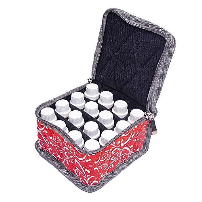 トランザクション腐敗消毒する精油ケース エッセンシャルオイル収納ケース旅行キャリングケースは、16本のボトル10ミリリットル、15ミリリットルバイアル油オーガナイザーバッグを開催します 携帯便利 (色 : 赤, サイズ : 13.5X13.5X8.5CM)
