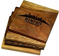 Engraved Mempis、テネシー州Coasters ( Set of 4 )