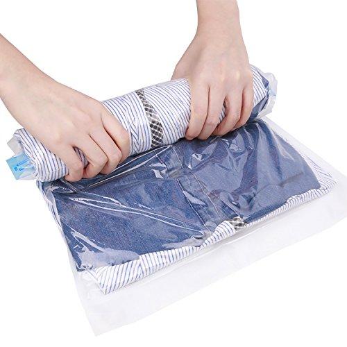 SkyGenius 衣類圧縮袋 収納袋 旅行出張用 省スペース 掃除機不要 繰り返し使用可 35x50cm 10枚セット