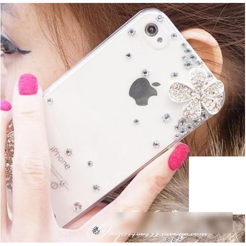 iPhone5 / 5s / 5c ケース スワロフスキー風 デコ カバー 花柄 イヤホンジャック付 (iphone 5c 用, クリア ( 透明 ))