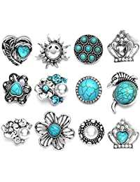 Soleebee 12pcs Alloy Rhinestones Same Color Snap Buttons Jewelry Charms (Turquoise)