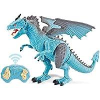 クリスマス プレゼント 電動リモコンスプレー恐竜おもちゃ赤外线リモートコントロール智能機械模型 (Blue-Dragon)