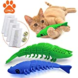 Ronton Cat Toothbrush Catnip Toy - Durable Hard Rubber - Cat Dental Care, Cat Interactive Toothbrush Chew Toy 2-Pack, Refillable Catnip Kitten Teaser Toy with Bell (Green/Blue)
