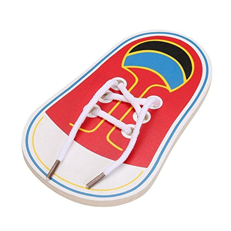 gelaiken 1 pc子供木製おもちゃ幼児用靴Lacing早期教育Teaching Aids